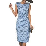 New Women Summer Red Polka Dot Dress Blue Sexy Bodycon Wrap Plus Size Dress Ladies Vintage Elegant Sleeveless Party Dresses