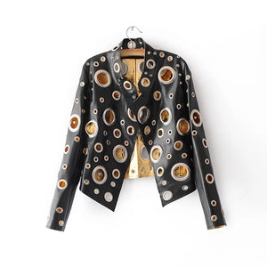 Spring Personality PU Round Hole Women Jacket Gold Black Silver Color Stand Collar Long Sleeve Coat Leather Clothing Top - ShopeeShipee