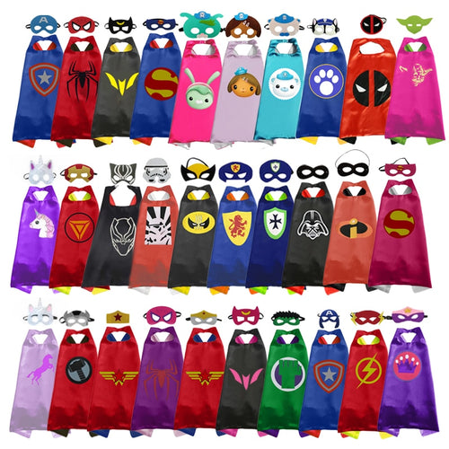 Superhero Capes with Masks for Kids Birthday Party Supplies Party Favor Halloween Costumes Dress Up Girls Boys Cosplay - ShopeeShipee