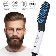 Updated Beard Straightener Man's Hair Flat Iron Fast Heated Straightening Comb Beard and Hair Show Cap Hair Styler For Male
