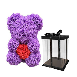 Cheap 40cm Red Bear Rose Teddy Bear Rose Flower Artificial Decoration Christmas Gifts for Women Valentines Gift