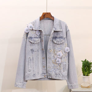 Women Jacket Coat Flower Embroidery Patch Women Jackets Abrigo Mujer Tops