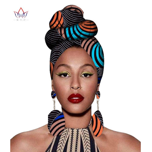 African Headtie Print Headwrap Ankara Wax Fabric 100% Pure Cotton Scarf Kente Scarves And Earrings 2 Pieces - ShopeeShipee