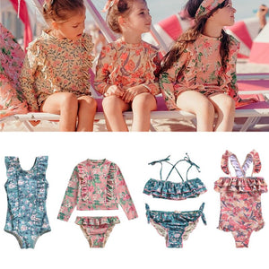New Spring Summer Girls One Pieces Swimwear Sets Kids Flower Print Beach Bikini
