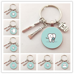 2020 New Dentist Dental Glass Keychain Dental Assistant Gift Dental Care Keychain - ShopeeShipee