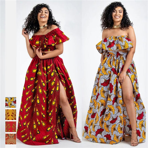 2020 News Ankara Style African Clothes Dashiki Print Top Skirts Fashion Feather Party African Dresses for Women Robe Africaine - ShopeeShipee
