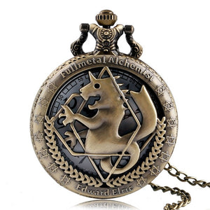 2020 Silver/Bronze Tone Fullmetal Alchemist Pocket Watch Cosplay Edward Elric Anime Design Boys Pendant Necklace Chain Best Gift
