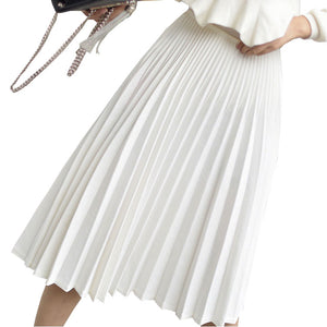 2020 Spring Women Elegant Pleated Skirt High Waist Women White Long Skirt Female Ladies High Quality Women Midi Skirt Black Saia - ShopeeShipee