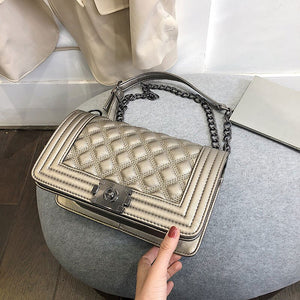 2020 Vintage Small Square Handbags Bag Designer Metal Chain Shoulder Bag PU Leather Messenger Crossbody Bags Women Sac A Main - ShopeeShipee