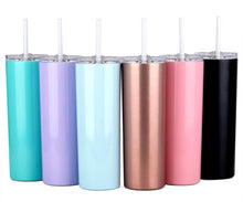 20oz Slim Tumblers with Lids and Straws,Stainless Steel Double Vacuum Insulated Unbreakable Tumbler Cup for Hot or Cold Drinks