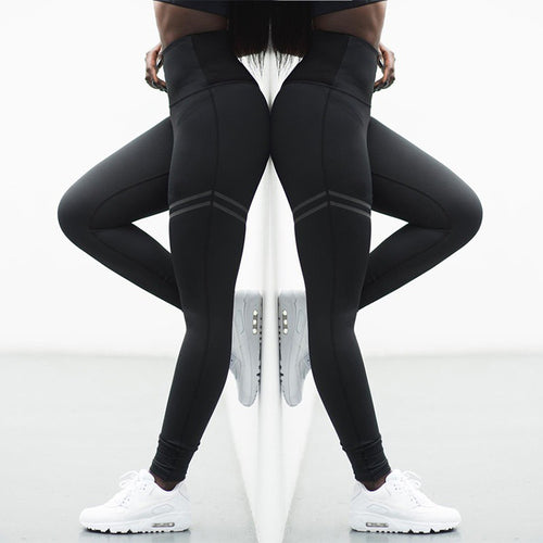 High waist solid color cross-border striped stretch yoga pants fitness bottoming nine points trousers - ShopeeShipee