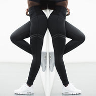 High waist solid color cross-border striped stretch yoga pants fitness bottoming nine points trousers