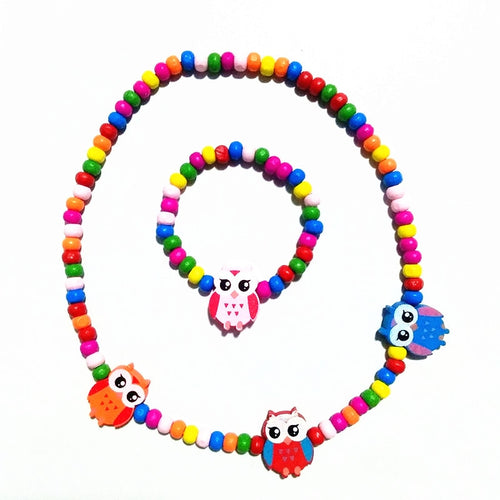22 Style Owl Rabbit Design Wooden Necklace Bracelet (1 Bracelet +1 Necklace) Kids Children's Birthday Party Fashion Jewelry - ShopeeShipee