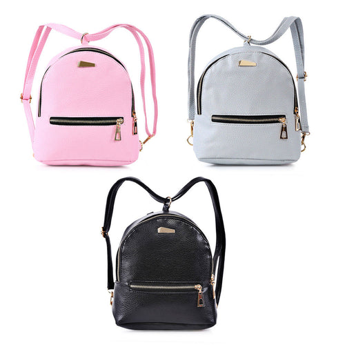 Fashion Mini Backpack For Teenage Girls School Bags PU Leather Small Schoolbag - ShopeeShipee