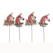 24Pcs Unicorn Cake Insert Bachelorette Party Unicorn Party Happy Birthday Baby Shower Party Supplies DIY Unicorno Natal Deco.Q