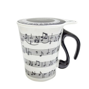 280ML Creative Music Tea Cup Stave Note Piano Key Board Shape Handle Ceramics Mug with Lid