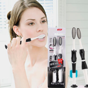 2Pcs Nano Bamboo Toothbrush Eco Friendly Tooth Brush Teeth Whitening Oral Care Travel Medium Soft Bristle Brush Teeth