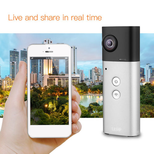360 Degree Camera VR Camera  Panoramic View Wifi Dual Lenses Spherical Video Image Real Time Seamless Recorder  8MP - ShopeeShipee