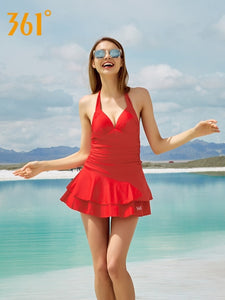 361 Sexy Bikini Underwire Skirted One Piece Swimsuit Red Black Halter Swimwear Push Up Backless Swim Suit Lady Pool Bathing Suit