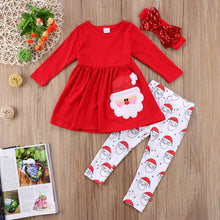 3PCS Christmas Toddler Kids Baby Girls Tops Dress Lovely Santa Claus Print Vestidos Pants Headband Outfits Set Clothes