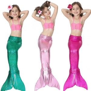 3pcs/Children Mermaid Tails For Swimming The Little Mermaid Ariel Girls Swimsuit Bikini Set Bathing Suit Party Cosplay Costumes - ShopeeShipee