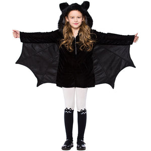 4-12T Kid Girls Black Bat Costume Halloween Hooded Jumpsuit Romper Cosplay Outfit With Wings Ears Stockings For Child Teen Girls - ShopeeShipee