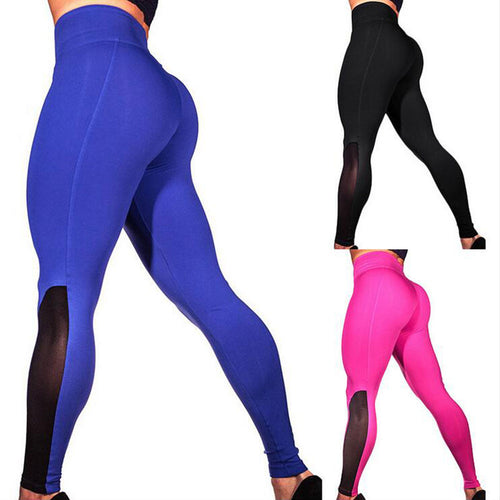 Women Sports Gauze Stitching Trousers Gym Fitness Slim Fit Yoga Pants Leggings - ShopeeShipee