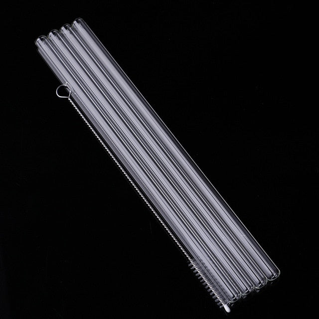 4Pcs Straight Glass Tube Reusable Drinking Straw Sucker With Cleaning BrushEvents Party Favors Supplies