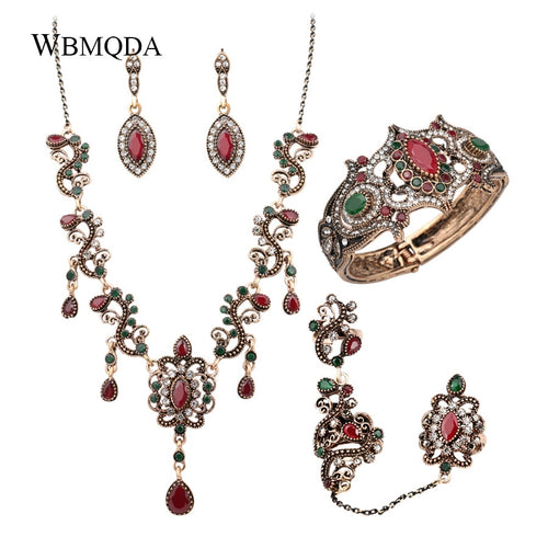 4Pcs/lot Boho Turkish Jewelry Sets Vintage Red Necklace Bracelet Earrings Ring Set Indian Crystal Antique Gold Wedding Jewellery - ShopeeShipee