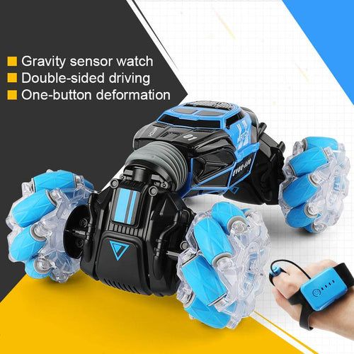 4WD RC Stunt Car Watch Control Gesture Induction Deformable Electric RC Drift Car Transformer Car Toys for Kids with LED Light - ShopeeShipee