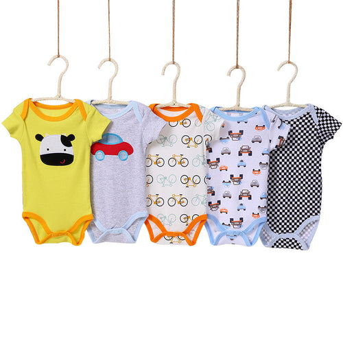 [5 Pieces/lot Random Style]Baby Bodysuit Cotton Short Sleeve Infant Jumpsuit Summer Baby Boy Bodysuits Cartoon Baby Girl Clothes - ShopeeShipee