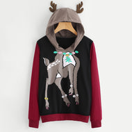 FeiTong Elk Deer Hoodie Women Patchwork Long Sleeve Contrast Hooded Sweatshirt 2018 Autumn Hoodies Christmas Hooded
