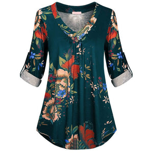 5XL Plus Size Women Tunic Shirt 2018 Autumn Long Sleeve Floral Print V-neck Blouses And Tops With Button Big Size Women Clothing
