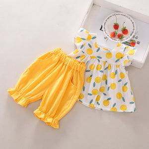 6M-4T Summer Baby Girls Casual Flare Sleeve Fruit Print T-shirt Blouse Tops+Shorts Suits Costume Set 2020 - ShopeeShipee
