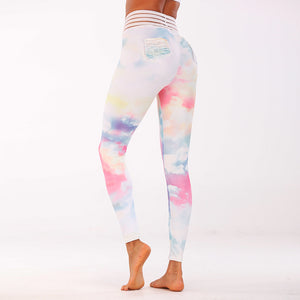Women's quick-drying stretch-tight bottoming yoga trousers Seven-color cloud printing Sports fitness bodybuilding - ShopeeShipee