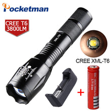 7200 Lumens 5-Mode Pocketman T6 LED Flashlight with charger Zoomable rechargeable Focus Light Torch Lantern by 1*18650 or 3*AAA