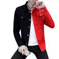 #7416 Casual Slim Denim Jacket For Men 2019 White And White Red Jeans Jacket Homme Letters Embroided Streetwear Denim Coat Man