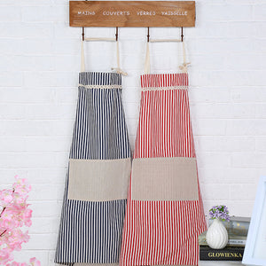 Household Adult Kitchen Cooking Baking Stripe Canvas Apron Bibs with One Pocket - ShopeeShipee
