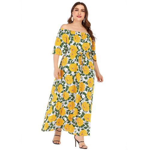 Cross-border large size women's 19 spring and summer fashion print dress holiday style Europe and the United States loose long skirt boho