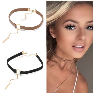 90'S Punk New Fashion 4 Colors Leather Choker Necklace Gold Color Geometry With Round Pendant Collar Necklace For Women Girls - ShopeeShipee