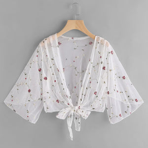 Vintage Flowers Vine Embroidery Front Tied Mesh Blouse Women Summer Beach Cover - ShopeeShipee