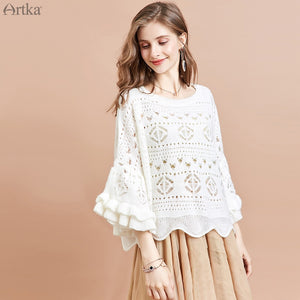 ARTKA 2020 Spring New Women Sweater Fashion Hollow Mohair Knitted Sweaters Flare Sleeve Pullover Warm Wool Sweater