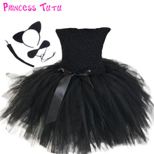 Adorable Girl Black Birthday Party Tutu Dress 1-10 year Children Knee Length Halloween Cat Cosplay Costume Clothes Set For Kids