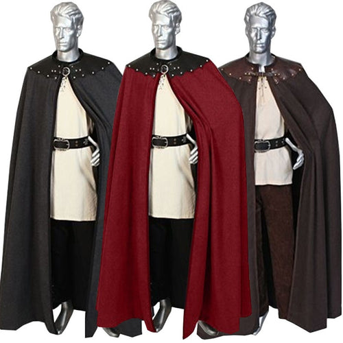 Adult Men 12th 13th Century England Queen Prince Costume Larp Medieval Knight Maxi Cloak Cape Warrior Viking Cos Robe For Men - ShopeeShipee