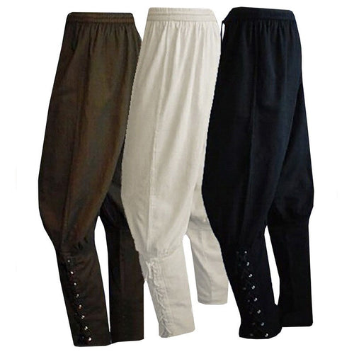 Adult Men Medieval Renaissance Lounge Pirate Horseman Costume Loose Pants Viking Black Brown Navigator Leg Bandage Trouser  XXXL - ShopeeShipee
