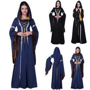 Adult Women Halloween Princess Witch Costume Medieval Renaissance Long Hooded Blue Gown Dress Clothing For Ladies Plus Size - ShopeeShipee