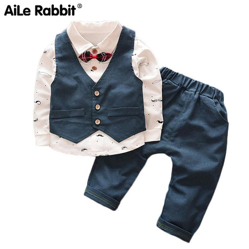 Spring Autumn Baby Boy Clothes Children Cartoon Bear Clothing 3pcs Sets Boys Coat+T Shirt + Pants