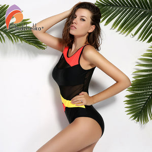 Andzhelika 2017 New Sports Sexy Swimwear Women Swimsuit Soft Cup  Mesh Solid Patchwork Stripe Swim Suit U-Shaped Back Swimsuit - ShopeeShipee