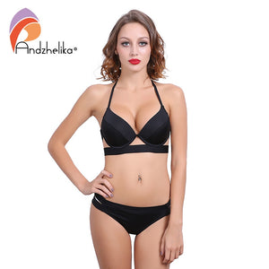 Andzhelika Bikinis Women Black Bandage Swimsuit 2018 Sexy Push Up Swimwear Low Waist Bathing Suit Halter Bikinis Suit Swim
