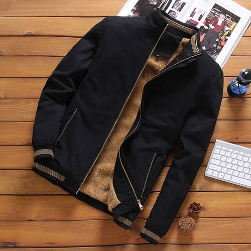 Autumn Mens Bomber Jackets Casual Male Outwear Fleece Thick Warm Windbreaker Jacket Mens Military Baseball Coat - ShopeeShipee